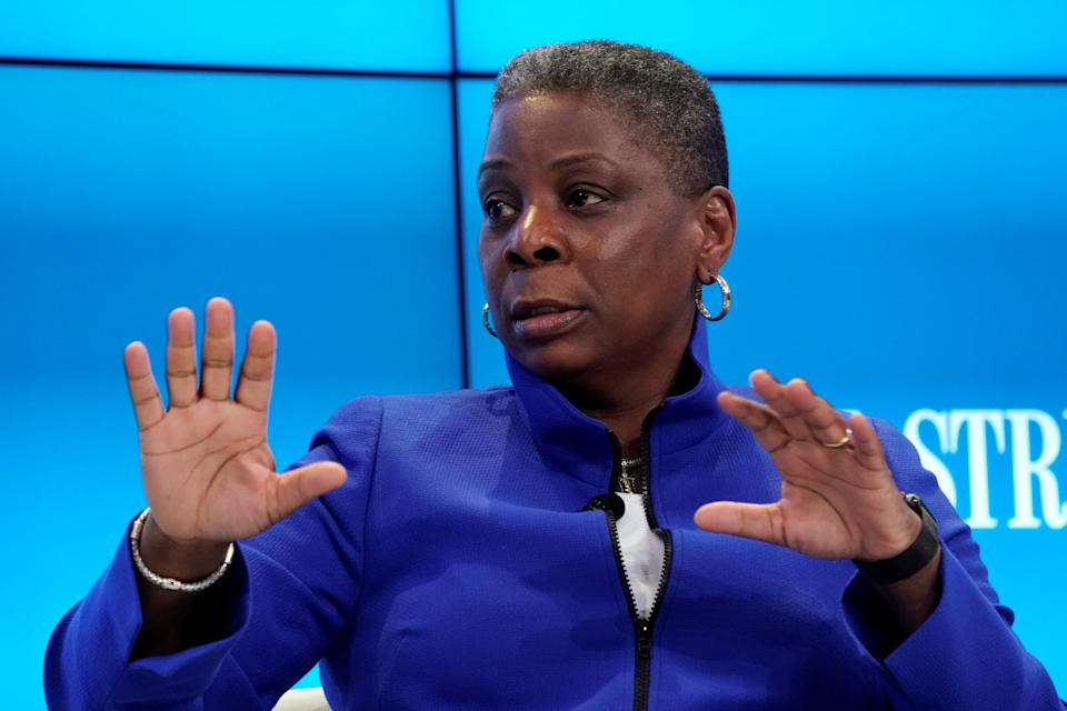 Ursula Burns, Chairman of the Supervisory Boar of VEON, gestures during the World Economic Forum (WEF) annual meeting in Davos, Switzerland January 25, 2018. REUTERS/Denis Balibouse