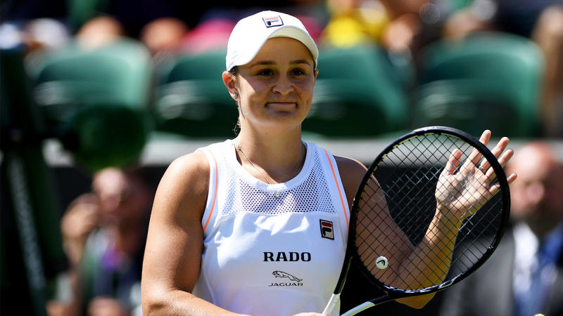 Ashleigh Barty of Australia celebrates victory after her Ladies' Second round match against Alison Van Uytvanck of Belgium during Day four of The Championships - Wimbledon 2019 at All England Lawn Tennis and Croquet Club on July 04, 2019 in London, England. (Photo by Shaun Botterill/Getty Images)