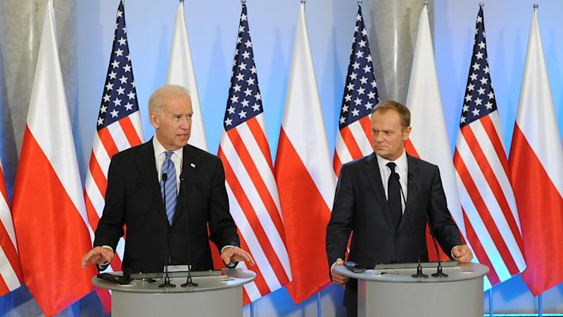 U.S. Vice President Joe Biden, left, speaks to the press after talks with Polish Prime Minister Donald Tusk, right, in Warsaw, Poland, Tuesday, March 18, 2014. Biden arrived in Warsaw for consultations with Prime Minister Donald Tusk and President Bronislaw Komorowski, a few hours after Russian President Vladimir Putin approved a draft bill for the annexation of Crimea, one of a flurry of steps to formally take over the Black Sea peninsula. (AP Photo/Alik Keplicz)