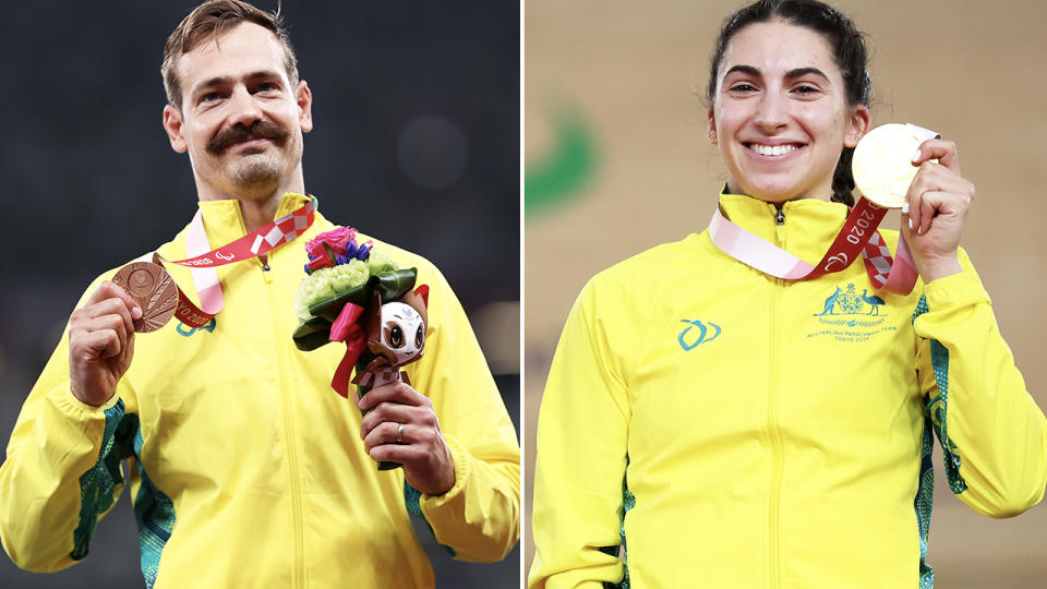 Evan O'Hanlon and Paige Greco, pictured here after winning medals at the Paralympics.