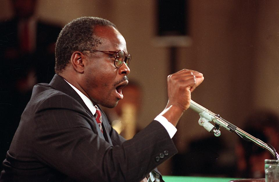 Supreme Court nominee Clarence Thomas testifies before the Senate Judiciary Committee during his 1991 confirmation hearing.