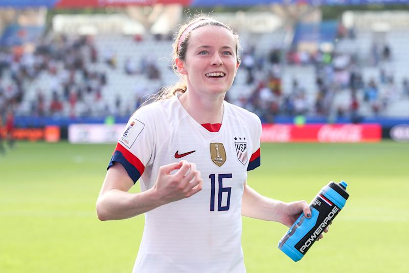REIMS, FRANCE - JUNE 24: #16 Rose Lavelle of USA celebrate the victory with fans after the 2019 FIFA Women's World Cup France Round Of 16 match between Spain and USA at Stade Auguste Delaune on June 24, 2019 in Reims, France. (Photo by Zhizhao Wu/Getty Images)