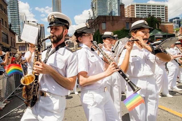 Members of the Royal Canadian Navy Band play music during Pride Day in Toronto on July 3, 2016. (DND Image Gallery)