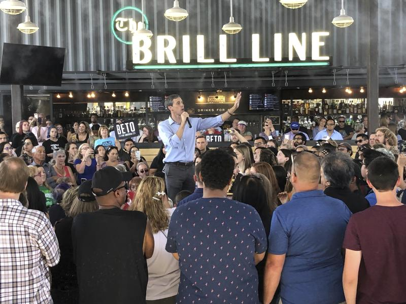 """Democratic presidential candidate Beto O'Rourke takes his calls for tough gun laws and inclusive immigration policies to Phoenix, Ariz., Sunday, Oct. 6, 2019. O'Rourke on Sunday laid out a progressive vision of a country that grants citizenship to young immigrants known as """"Dreamers"""" and treats all immigrants with respect. He told an enthusiastic crowd in Phoenix that Democrats would rewrite immigration laws in their own image.  (AP Photo/Jonathan Cooper)"""