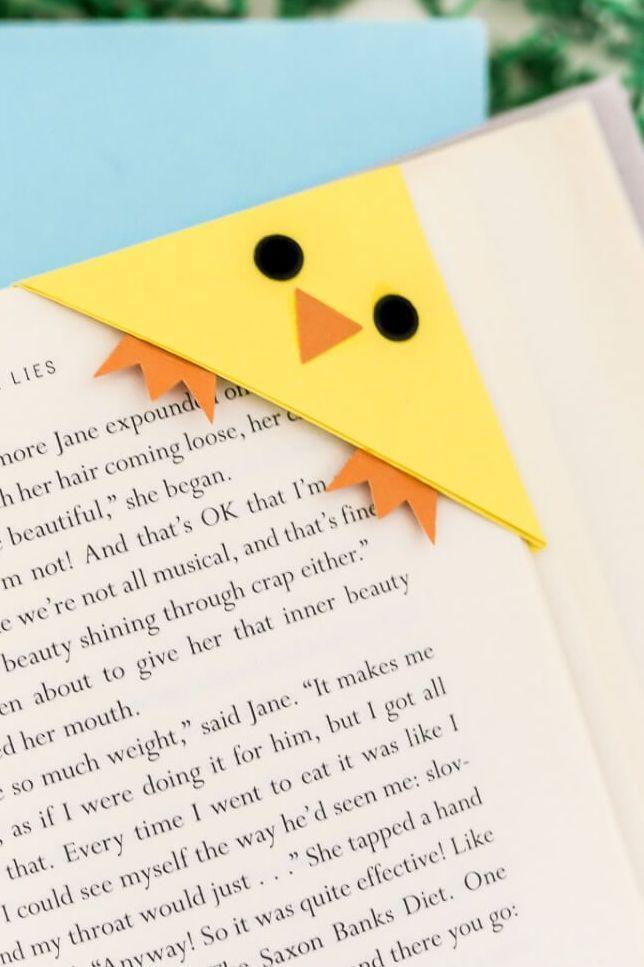 """<p>Here's a craft you can use well after Easter ends: a bookmark! It's adorable and perfectly on-theme.</p><p><strong>Get the tutorial at <a href=""""https://heyletsmakestuff.com/easter-bookmarks-bunny-and-chick/"""" rel=""""nofollow noopener"""" target=""""_blank"""" data-ylk=""""slk:Hey Let's Make Stuff"""" class=""""link rapid-noclick-resp"""">Hey Let's Make Stuff</a>.</strong></p><p><a class=""""link rapid-noclick-resp"""" href=""""https://www.amazon.com/Pacon-PAC6555-Lightweight-Construction-Assorted/dp/B0013CDJTS?tag=syn-yahoo-20&ascsubtag=%5Bartid%7C10050.g.1111%5Bsrc%7Cyahoo-us"""" rel=""""nofollow noopener"""" target=""""_blank"""" data-ylk=""""slk:SHOP CONSTRUCTION PAPER"""">SHOP CONSTRUCTION PAPER</a></p>"""