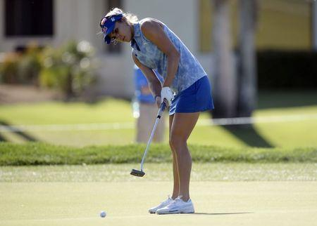 March 30, 2017; Rancho Mirage, CA, USA; Lexi Thompson putts on the first course green during the first round of the ANA Inspiration golf tournament at Mission Hills CC-Dinah Shore Tournament Course. A. Vasquez-USA TODAY Sports