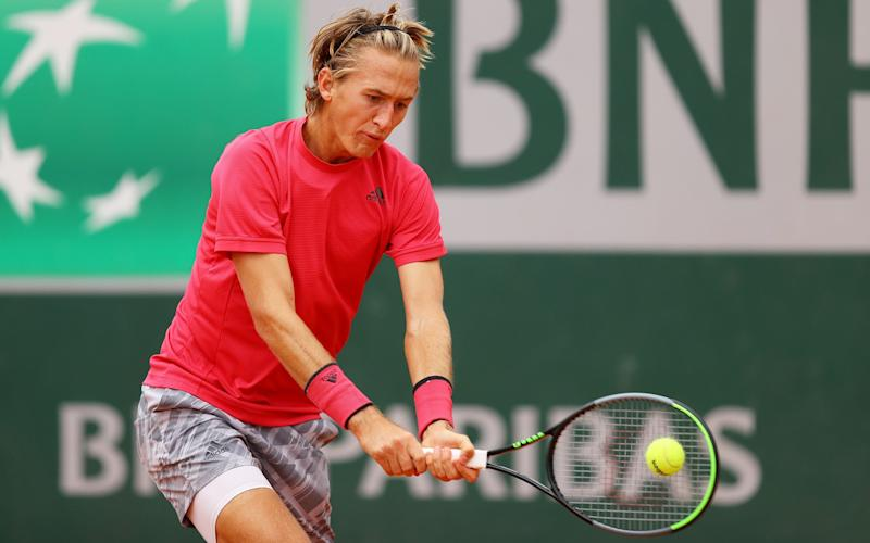 Sebastian Korda of The United States of America plays a backhand during his Men's Singles third round match against Pedro Martinez of Spain on day six of the 2020 French Open at Roland Garros on October 02, 2020 in Paris, France.  - GETTY IMAGES