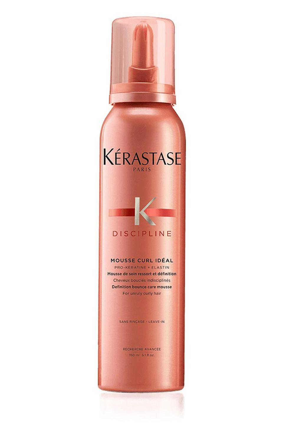 """<p><strong>Kérastase</strong></p><p>sephora.com</p><p><strong>$37.00</strong></p><p><a href=""""https://www.sephora.com/product/discipline-mousse-for-curly-hair-P434421"""" rel=""""nofollow noopener"""" target=""""_blank"""" data-ylk=""""slk:Shop Now"""" class=""""link rapid-noclick-resp"""">Shop Now</a></p><p>Those tiny, wispy hairs that just. won't. lie. down. can be annoying as hell to deal with. Your savior? This mousse, which contains a pro-keratin complex that <strong>helps smooth the surface of your hair to stave off flyaways and <a href=""""https://www.cosmopolitan.com/style-beauty/beauty/a33187/how-to-defrizz-your-hair/"""" rel=""""nofollow noopener"""" target=""""_blank"""" data-ylk=""""slk:frizz"""" class=""""link rapid-noclick-resp"""">frizz</a> </strong>during the day.</p>"""