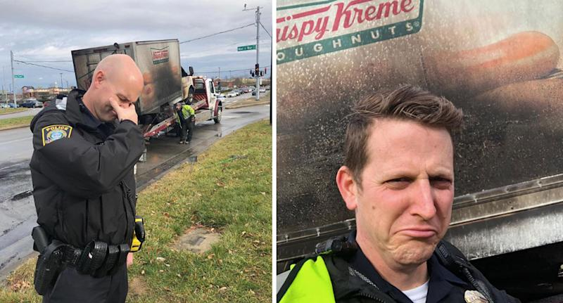 Kentucky police 'in tears' after donut truck catches fire