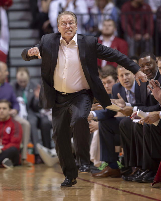 Michigan State head coach Tom Izzo reacts to the action on the court during an NCAA college basketball game against Indiana, Saturday, March 2, 2019, in Bloomington, Ind. (AP Photo/Doug McSchooler)