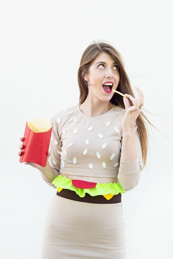 """<p>You'll flip for this creative food-inspired costume. And if you're looking for a getup to suit two, have your pair dress as French fries. </p><p><a class=""""link rapid-noclick-resp"""" href=""""https://studiodiy.com/diy-burger-costume//"""" rel=""""nofollow noopener"""" target=""""_blank"""" data-ylk=""""slk:GET THE TUTORIAL"""">GET THE TUTORIAL</a></p><p><a class=""""link rapid-noclick-resp"""" href=""""https://www.amazon.com/Colorations-Felt-Colored-12-Sheets/dp/B005E9M0QY/?tag=syn-yahoo-20&ascsubtag=%5Bartid%7C10072.g.33547559%5Bsrc%7Cyahoo-us"""" rel=""""nofollow noopener"""" target=""""_blank"""" data-ylk=""""slk:SHOP FELT"""">SHOP FELT</a></p>"""