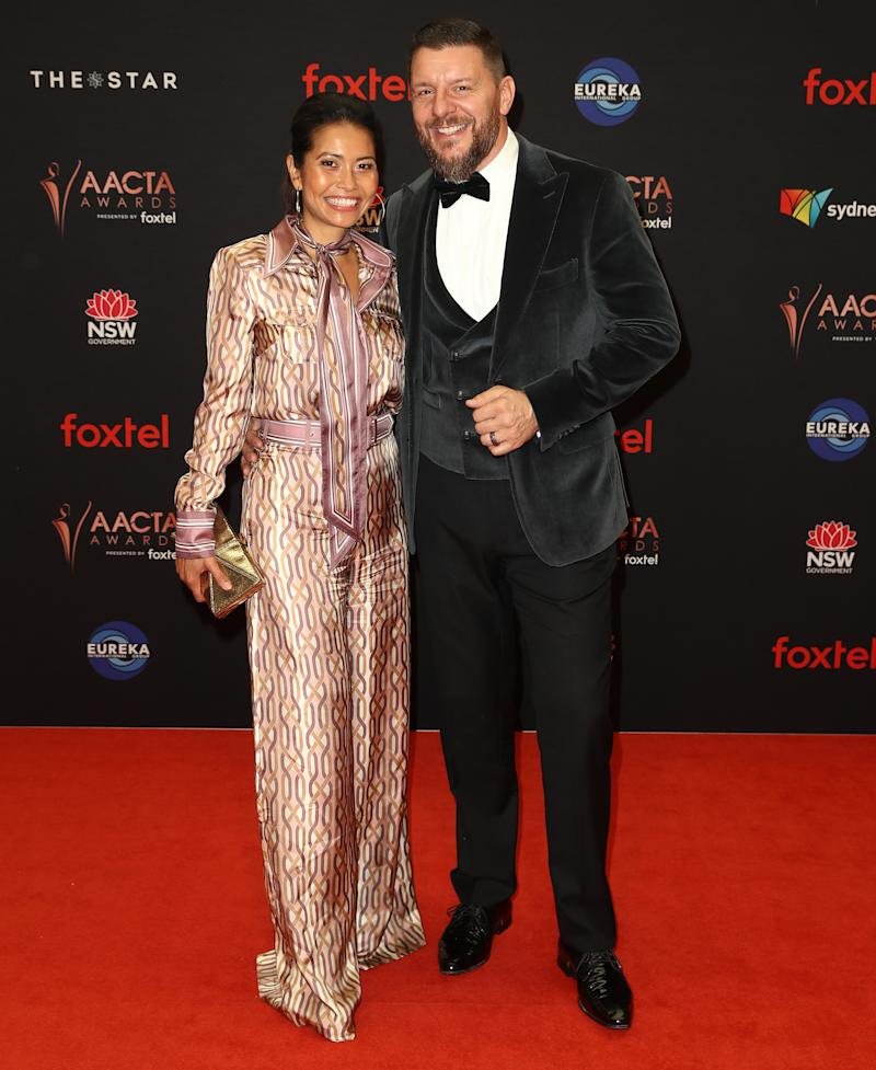 Manu Feildel pictured with his wife Clarissa Weerasena on the AACTA Awards red carpet