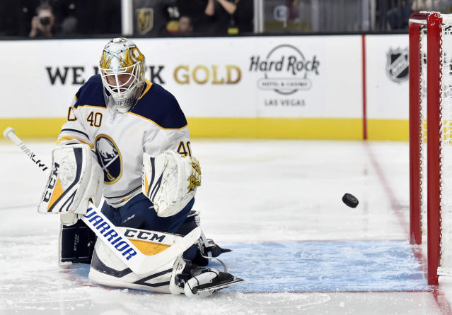 Buffalo Sabres goaltender Carter Hutton (40) defends his goal against the Vegas Golden Knights during the second period of an NHL hockey game, Tuesday, Oct. 16, 2018, in Las Vegas. (AP Photo/David Becker)