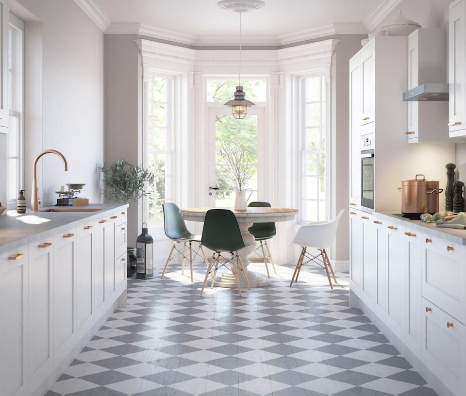"""<p>White kitchen cabinets provide the perfect base for a bit of design fun. Go bold with intricately patterned floor tiles, paint your floorboards or use a <a href=""""https://www.housebeautiful.com/uk/decorate/floors/a37062156/vinyl-flooring/"""" rel=""""nofollow noopener"""" target=""""_blank"""" data-ylk=""""slk:high-quality vinyl"""" class=""""link rapid-noclick-resp"""">high-quality vinyl</a> for a similar effect – everything goes when your base palette is so versatile. </p><p>Pictured: <a href=""""https://www.magnet.co.uk/kitchens/all-kitchens/tatton/white/"""" rel=""""nofollow noopener"""" target=""""_blank"""" data-ylk=""""slk:Tatton Kitchen at Magnet"""" class=""""link rapid-noclick-resp"""">Tatton Kitchen at Magnet</a></p>"""