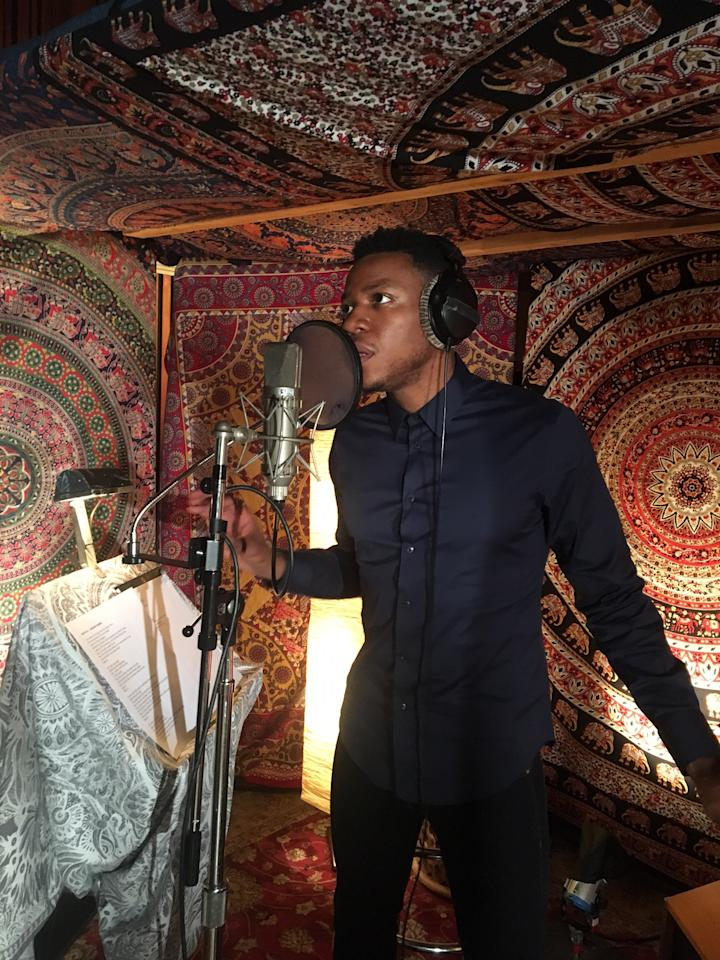 <p>Chris Blue's iTunes recording session (photo courtesy of NBC) </p>