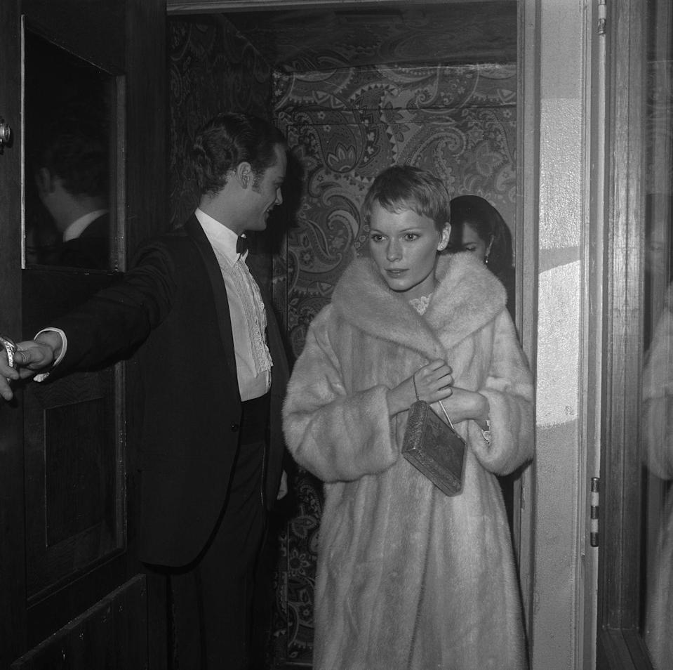 """<p>While filming <em>Rosemary's Baby</em>, Sinatra served Farrow with divorce papers, ending their one-year marriage. The couple's proceedings <a href=""""https://www.vanityfair.com/style/2013/11/mia-farrow-frank-sinatra-ronan-farrow"""" rel=""""nofollow noopener"""" target=""""_blank"""" data-ylk=""""slk:were finalized in 1968"""" class=""""link rapid-noclick-resp"""">were finalized in 1968</a>, though they remained friends. </p>"""