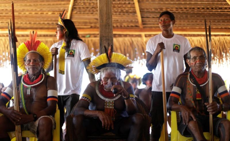 Indigenous leader Cacique Raoni of Kayapo tribe, attends a four-day pow wow in Piaracu village, in Xingu Indigenous Park, near Sao Jose do Xingu, Mato Grosso state