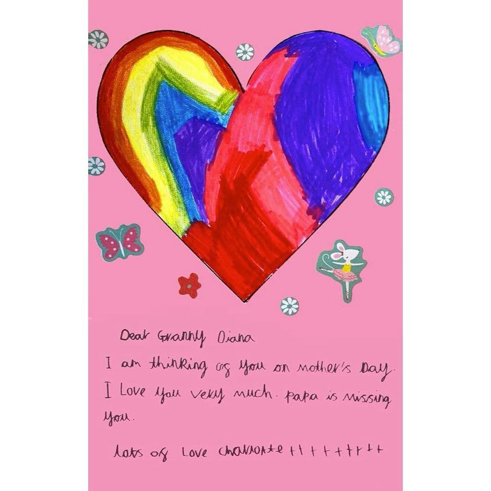 Princess Charlotte's card to Princess Diana