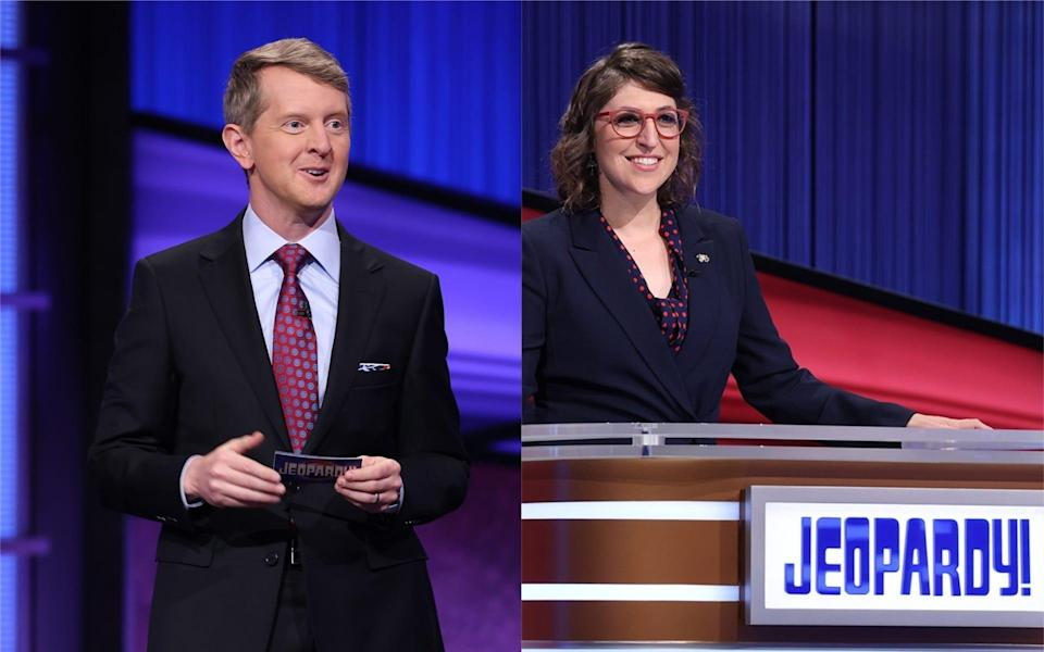 """Ken Jennings, left, and Mayim Bialik, right, will host """"Jeopardy!"""" for the remainder of 2021 following new host Mike Richards' exit."""