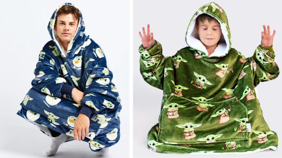 man and child wearing star wars baby Yoda hooded blankets from Oodie