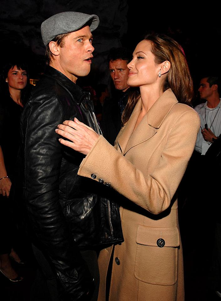 "The <i>National Enquirer</i> claims Brad Pitt just ""stunned"" Angelina Jolie by telling her they're done and he ""doesn't love her anymore."" Click onto <a href=""http://www.gossipcop.com/brad-pitt-angelina-jolie-controlling-domineering/"" target=""new"">Gossip Cop</a> for the full inside scoop. Lester Cohen/<a href=""http://www.wireimage.com"" target=""new"">WireImage.com</a> - November 5, 2007"