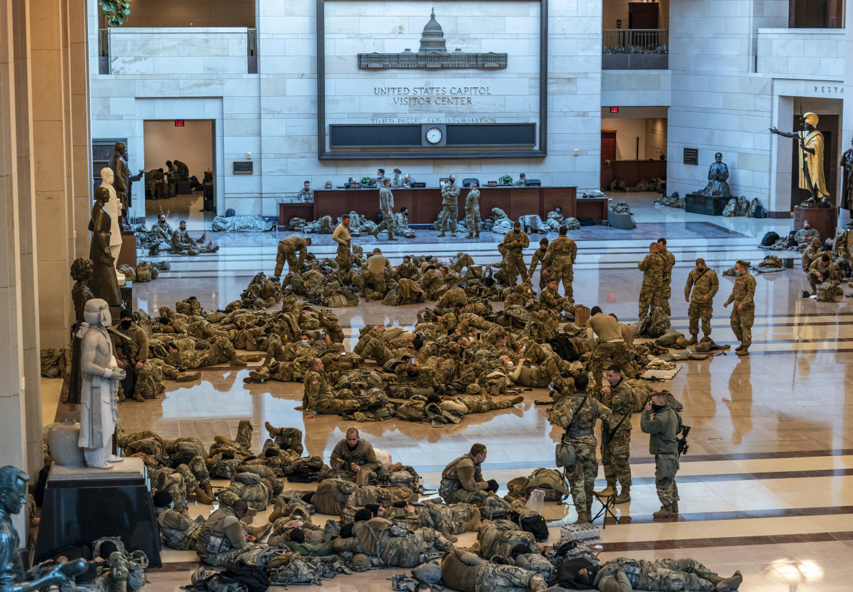 Hundreds of National Guard troops in repose inside the Capitol