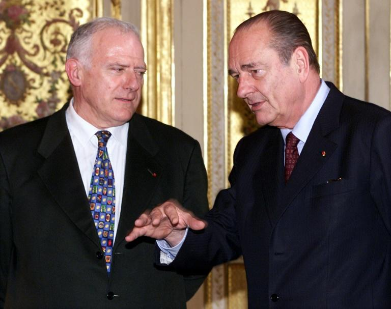 Daguin, shown here with then president Jacques Chirac in 2001, received his first Michelin star in 1960