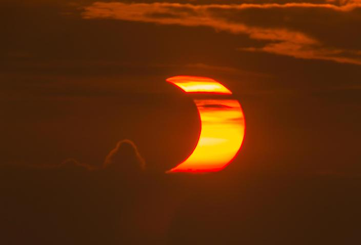 The partial solar eclipse as seen from North Wildwood, New Jersey, on June 10, 2021. / Credit: Chris Bakley