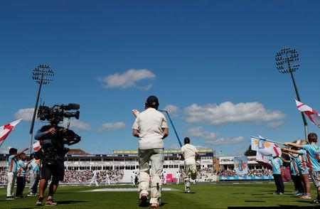 Cricket - England vs West Indies - First Test - Birmingham, Britain - August 17, 2017 England's Mark Stoneman and Alastair Cook (R) walk out to bat Action Images via Reuters/Paul Childs