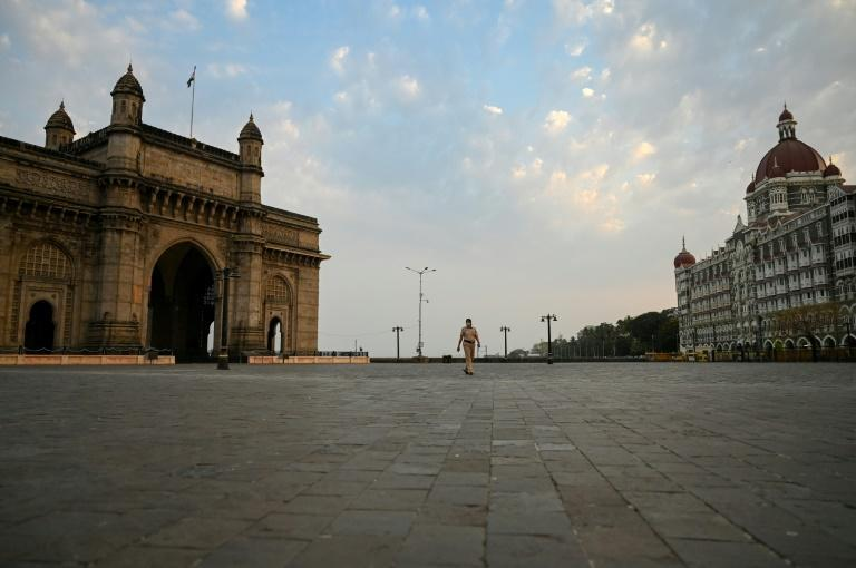 Deserted streets in Mumbai, in India's virus-stricken Maharashtra state