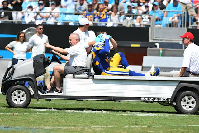 Rams safety Eric Weddle had to be carted off the field in Week 1. (Dannie Walls/Getty Images)