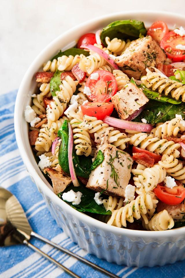"""<p>Don't show up to a summer hangout without the pasta salad.</p><p>Get the recipe from <a href=""""https://www.delish.com/cooking/recipe-ideas/a19601468/easy-pasta-salad-recipe/"""" target=""""_blank"""">Delish</a>.</p>"""