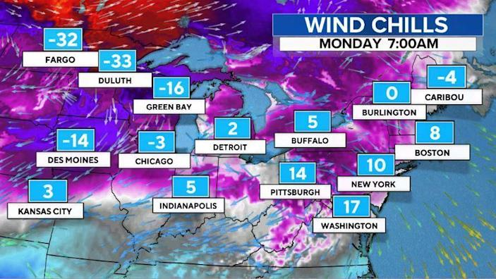 Projected Monday temperatures in the affected areas. / Credit: CBS News