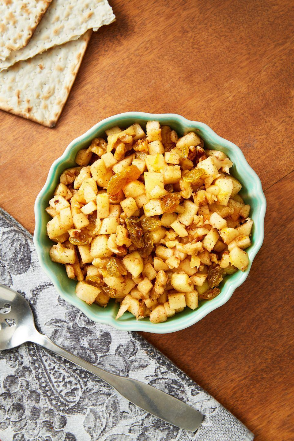 """<p>The classic condiment that goes perfectly with matzah is irresistible as always.</p><p>Get the recipe from <a href=""""https://www.delish.com/cooking/recipe-ideas/a31790190/charoset-recipe/"""" rel=""""nofollow noopener"""" target=""""_blank"""" data-ylk=""""slk:Delish."""" class=""""link rapid-noclick-resp"""">Delish.</a></p>"""