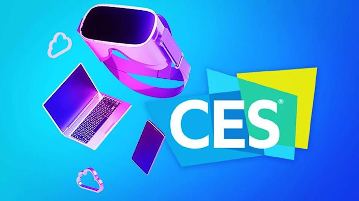 Promotional graphic for the annual Consumer Electronics Show (CES) in Las Vegas, Nevada.