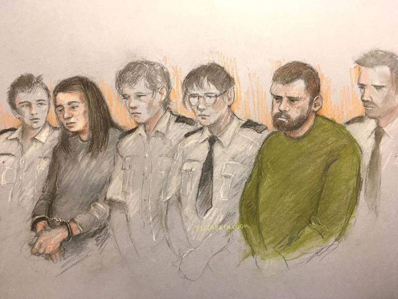 A court artist's sketch of Sarah Barrass, left, and Brandon Machin, right, flanked by security staff in the dock of Sheffield Crown Court in May (Picture: PA)