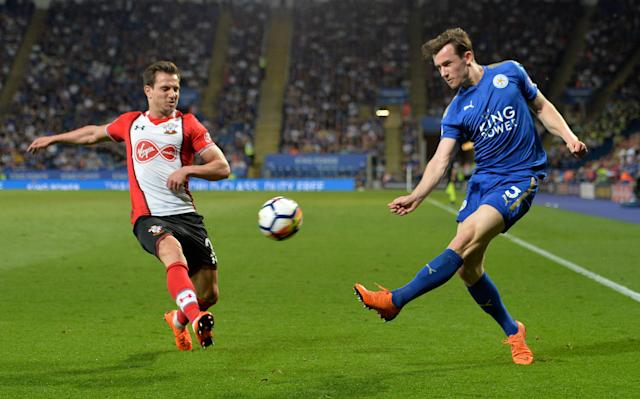 """Soccer Football - Premier League - Leicester City vs Southampton - King Power Stadium, Leicester, Britain - April 19, 2018 Leicester City's Ben Chilwell in action with Southampton's Cedric Soares REUTERS/Peter Powell EDITORIAL USE ONLY. No use with unauthorized audio, video, data, fixture lists, club/league logos or """"live"""" services. Online in-match use limited to 75 images, no video emulation. No use in betting, games or single club/league/player publications. Please contact your account representative for further details."""