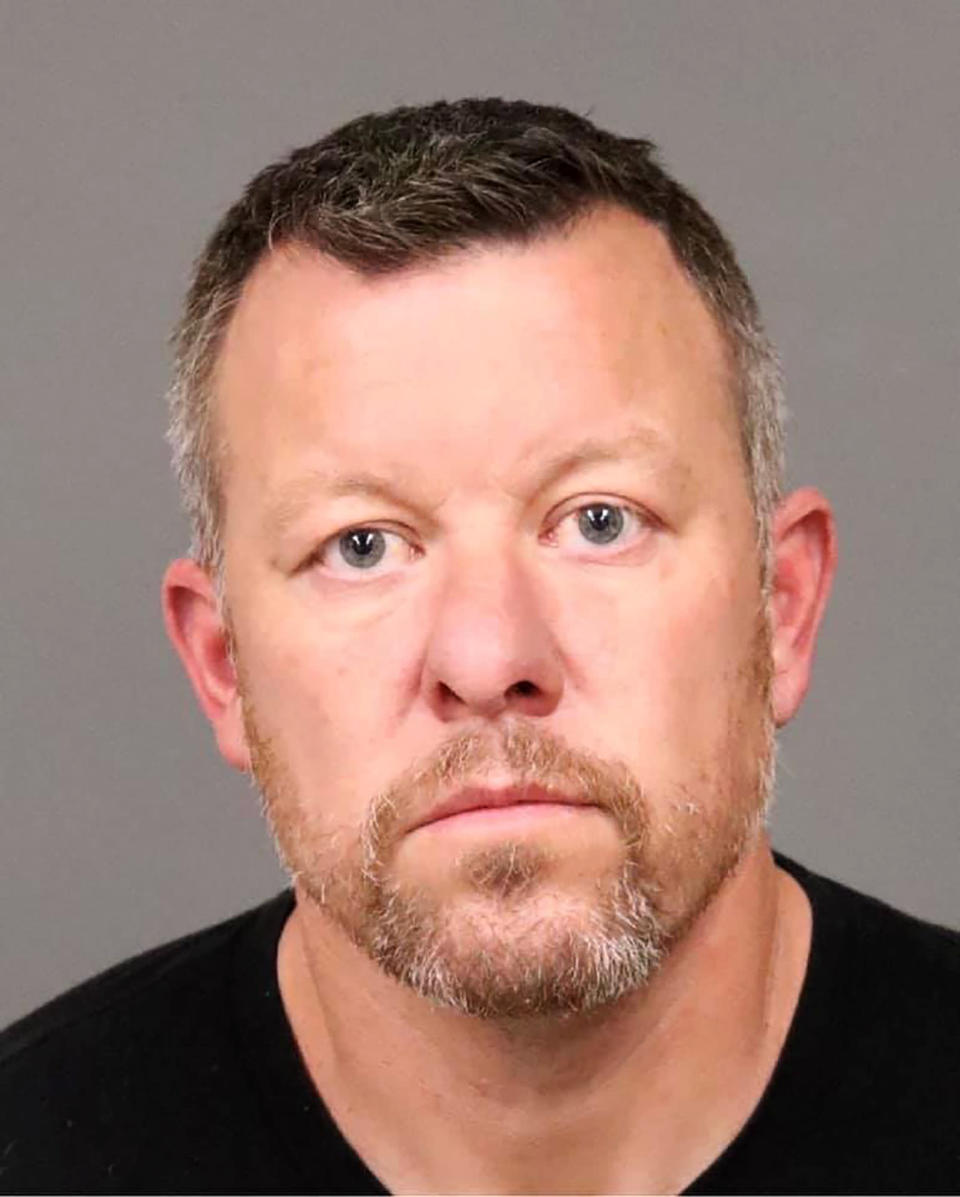 This photo provided by the San Luis Obispo County Sheriff's Office shows suspect Paul Flores who was arrested Tuesday, April 13, 2021, for the murder of Kristin Smart. Flores, the longtime suspect in the 25-year-old disappearance of the California college student was arrested Tuesday, April 13, 2021, on suspicion of murder, and his father was booked in jail as an accessory to the crime. Flores, 44, who was the last person seen with Smart on the California Polytechnic State University campus in San Luis Obispo before she vanished in 1996, was taken into custody in the Los Angeles area. (San Luis Obispo County Sheriff's Office via AP)