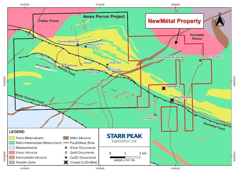 Figure 2: Geological Map of the NewMétal Property with respect to Amex Exploration's Perron Project and the Normétal Past-Producing Mine. (CNW Group/Starr Peak Exploration Ltd.)