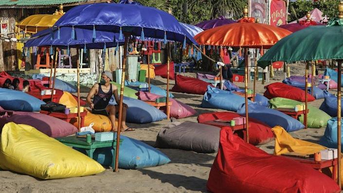 Visitors enjoy the beach during the government relaxed Covid-19 restrictions