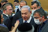 Israeli Prime Minister Benjamin Netanyahu attends a special session of the Knesset, Israel's parliament