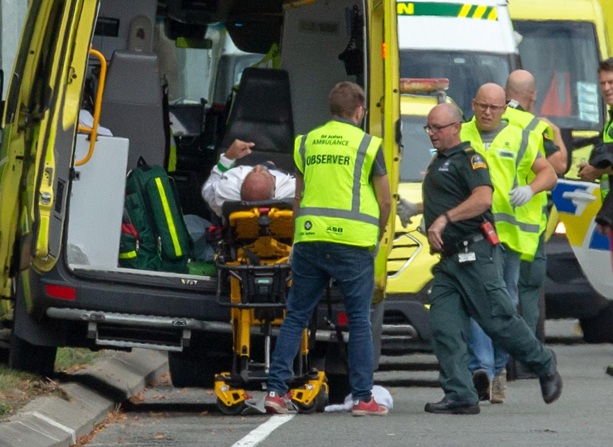 An injured person is loaded into an ambulance following a shooting at the Al Noor mosque in Christchurch, New Zealand, March 15, 2019. (Photo: Martin Hunter/Reuters)