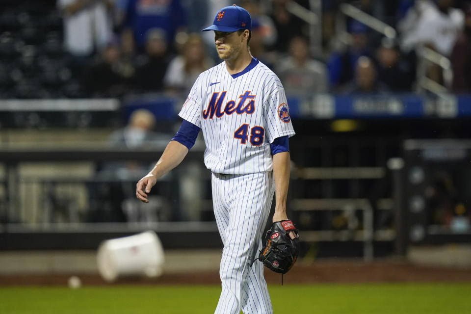New York Mets starting pitcher Jacob deGrom (48) leaves the field during the fifth inning of a baseball game against the San Diego Padres, Friday, June 11, 2021, in New York. (AP Photo/Frank Franklin II)