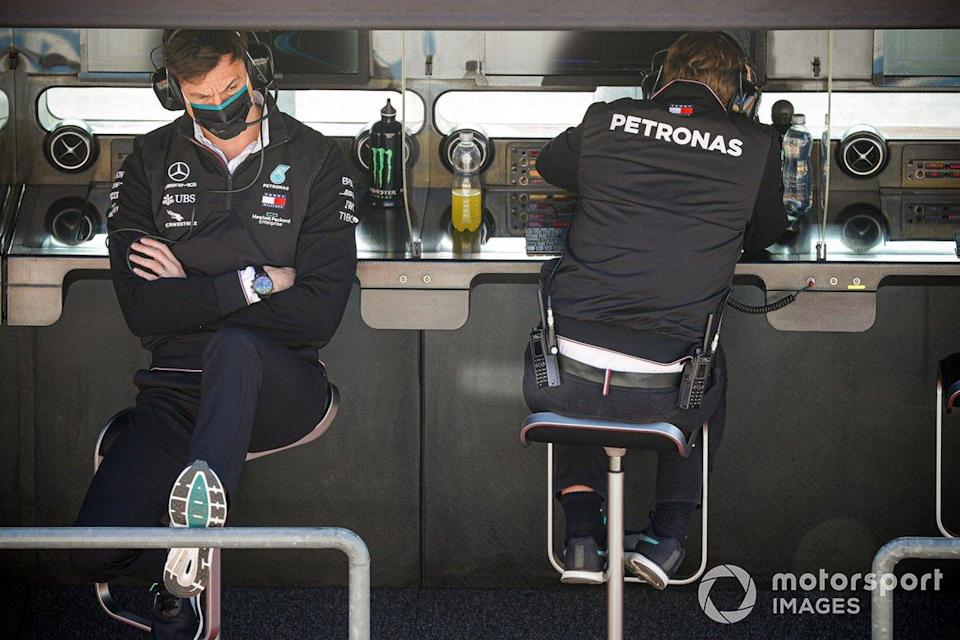 """Toto Wolff, Executive Director (Business), Mercedes AMG, on the pit wall<span class=""""copyright"""">Glenn Dunbar / Motorsport Images</span>"""
