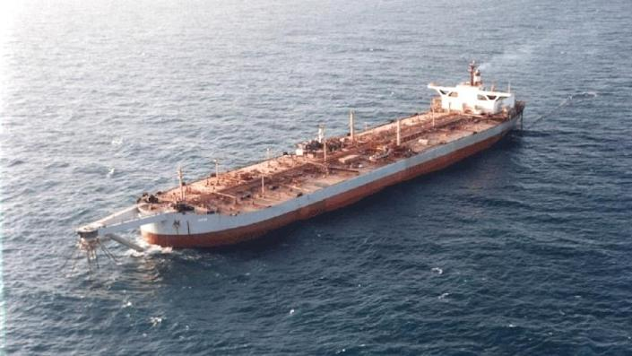 A file photo shows the FSO Safer supertanker permanently anchored off Yemen's Red Sea coast, west of Hodeida. / Credit: HANDOUT