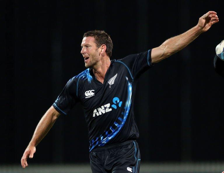 New Zealand's Ian Butler celebrates the wicket of England's Jonny Bairstow at Snedden Park in Hamilton on Febuary 12, 2013. New Zealand defeated England by 55 runs in the second Twenty20 international to level the three-match series 1-1