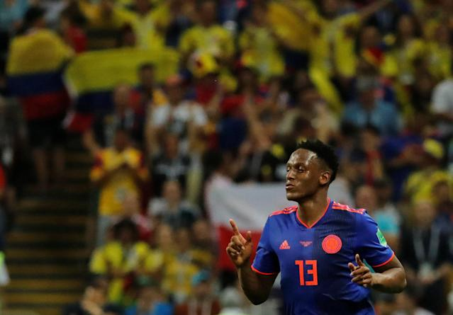 Soccer Football - World Cup - Group H - Poland vs Colombia - Kazan Arena, Kazan, Russia - June 24, 2018 Colombia's Yerry Mina celebrates scoring their first goal REUTERS/Toru Hanai
