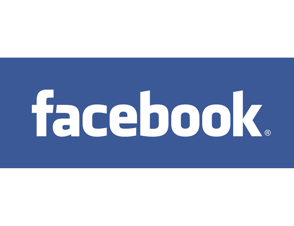Facebook logo, white letters on a blue background.