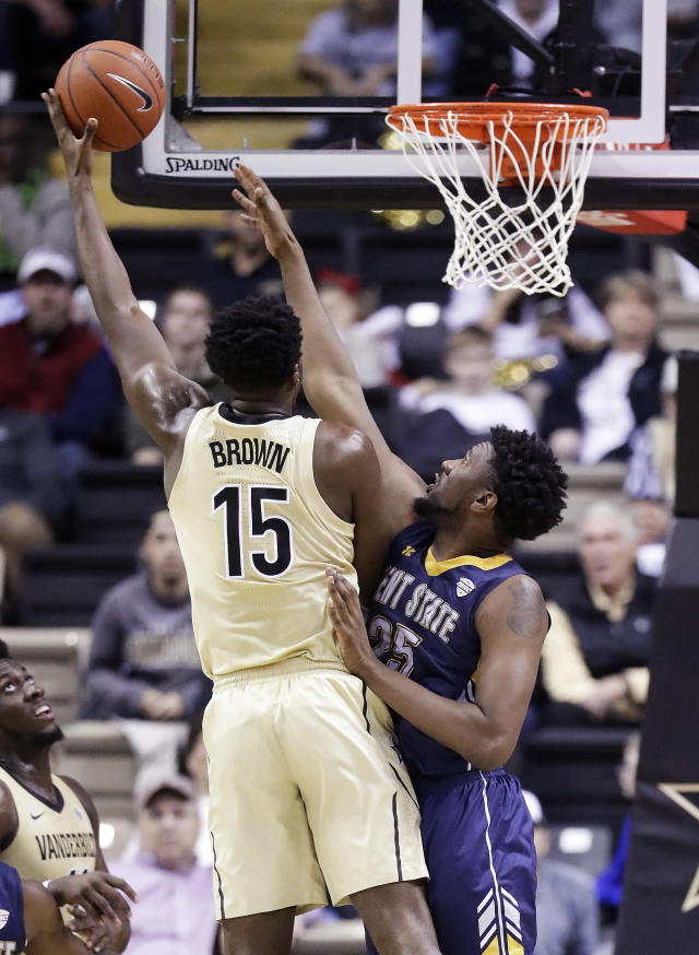 Vanderbilt forward Clevon Brown (15) shoots against Kent State forward Philip Whittington (25) during the first half of an NCAA college basketball game Friday, Nov. 23, 2018, in Nashville, Tenn. (AP Photo/Mark Humphrey)