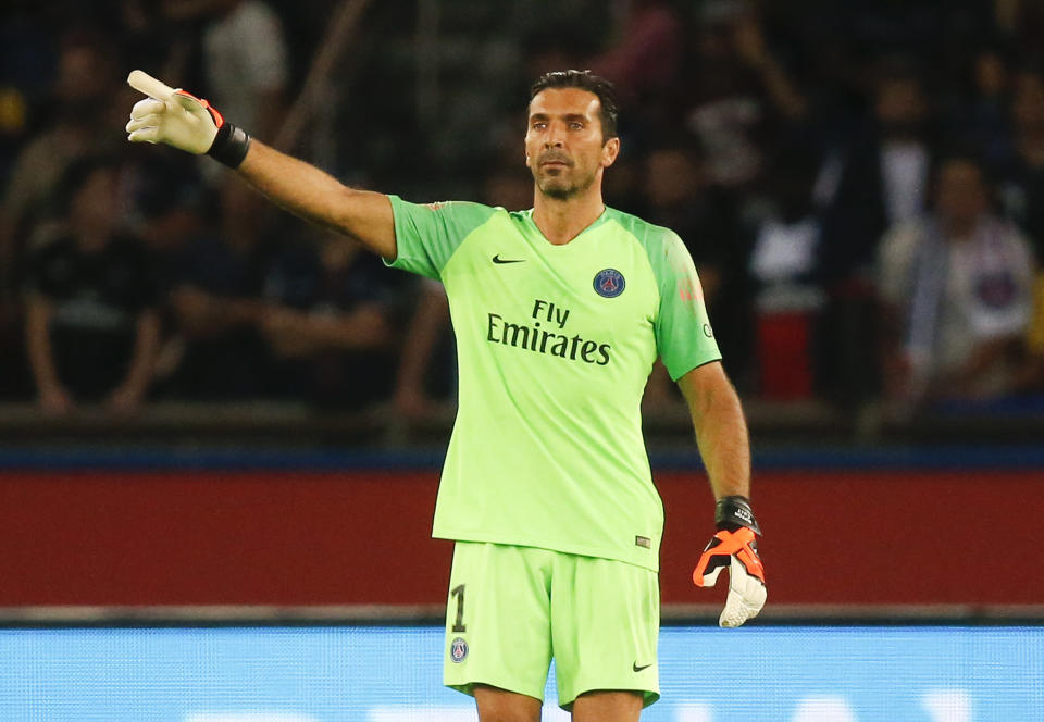 File photo of goalkeeper Gianluigi Buffon in action during PSG's League One clash against Caen.